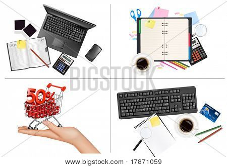 Big set of business and office backgrounds. Vector illustration.
