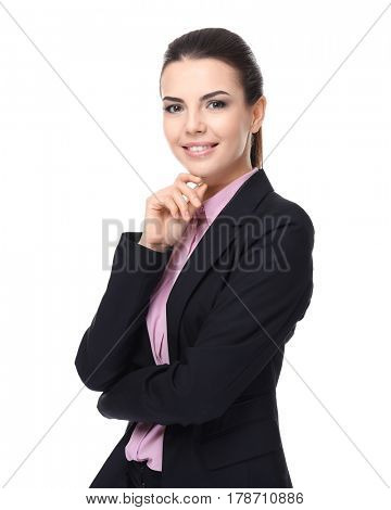 Confident young manager on white background