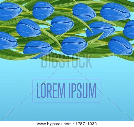 Spring banner with blue blooming tulip branche vector illustration. Floral decorated spring flower design for holiday, seasonal celebration, nature feast congratulation greeting card with copy space