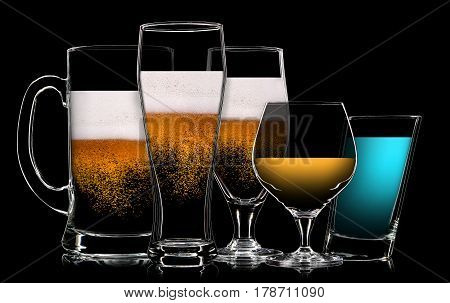 Set of multicolor different drinks in various glasses on black background