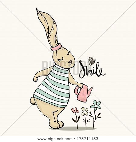 Cute little bunny girl with watering can. Hand Sketched cartoon rabbit. Great for baby t-shirt print kids wear baby showerfashion print designpostercards. Vector illustration
