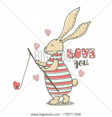 Cute little bunny boy with fishing rod . Hand Sketched cartoon rabbit. Great for baby t-shirt print kids wear baby showerfashion print designpostercards. Vector illustration
