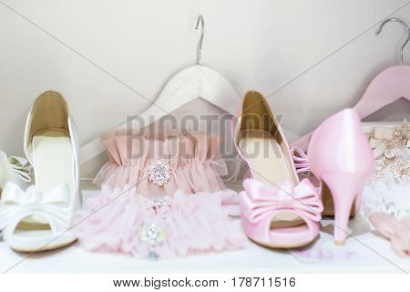 Beautiful garters and shoes for a wedding celebration
