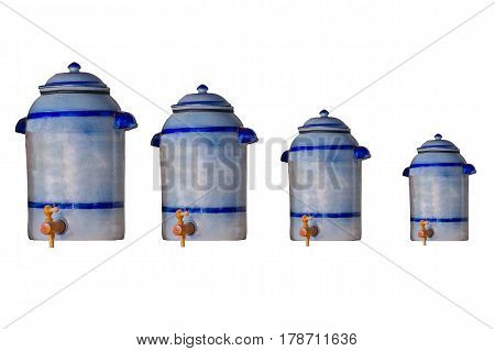 4 Ceramic pots earthenware pot vinegar pot 20 liters support with tap