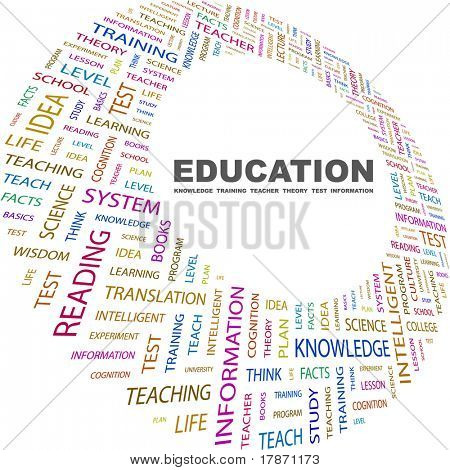 Education. Word collage on white background. Vector illustration. Illustration with different association terms.