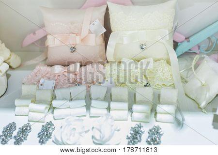Many beautiful bright wedding decorations close p