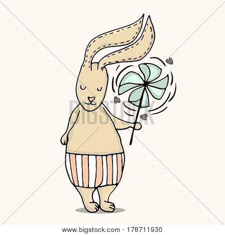 Cute little bunny boy. Hand Sketched cartoon rabbit with windmill toy. Great for baby t-shirt print kids wear baby showerfashion print designpostercards. Vector illustration