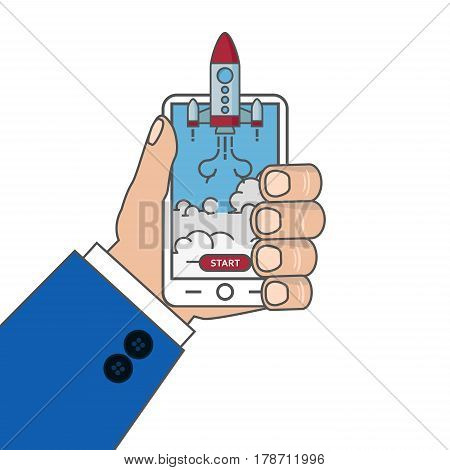 Flat illustration of smartphone with Rocket launcing
