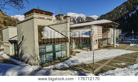 Pejo Fonti, Italy - March 10, 2017:thermes In The Center Of The