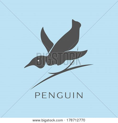 Penguin icon vector filled flat symbol on blue background