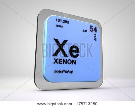 xenon - Xe - chemical element periodic table 3d render