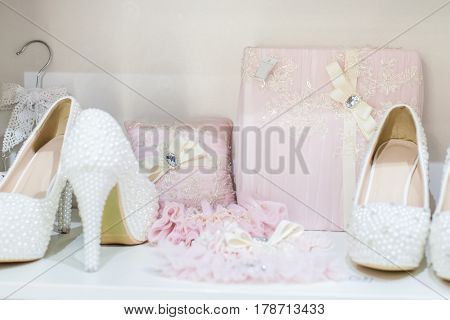 Set of bright wedding accessories, all for the wedding ceremony