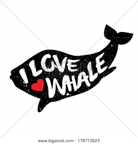 Whale with heart and lettering text. I Love Whale. Vector illustration.