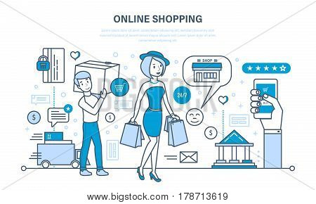 Modern shopping, online ordering system of products, secure payment, visit to store, delivery, technical support, technology. Illustration thin line design of vector doodles, infographics elements.