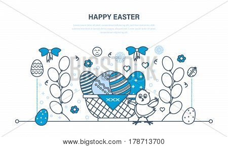 Easter greeting card. Beautifully decorated eggs lie in basket, next chick on festive background with balls, knots and patterns. Illustration thin line design of vector doodles, infographics elements.