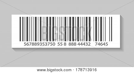 Packaging barcode vector illustration isolated on white background. Market mark symbol, retail product sticker template.