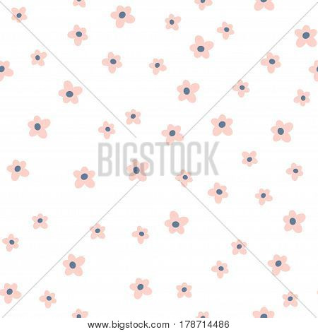 Cute seamless floral pattern.Pink flower on white background. Great for fabric, textile, wrapping.