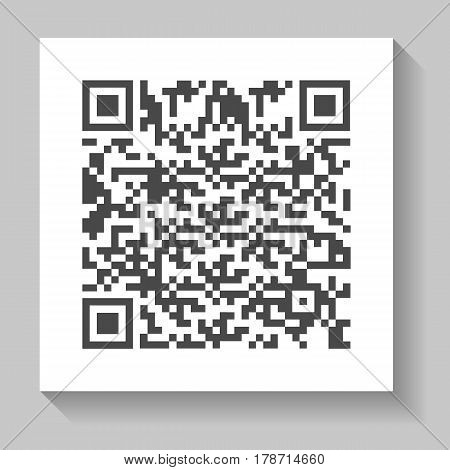 Realistic QR code for smartphone vector illustration isolated on white background. Market mark symbol, product sticker template.