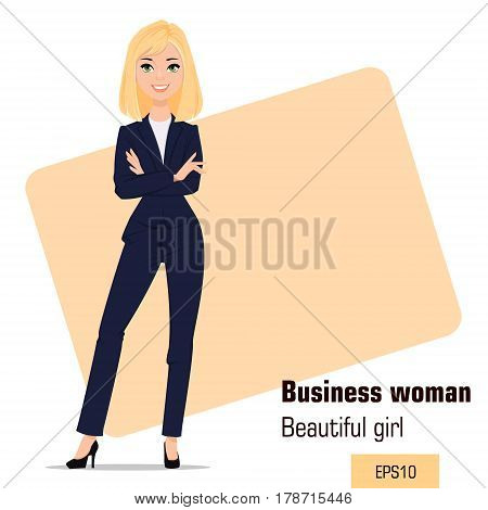 Young cartoon businesswoman standing with crossed hands. Beautiful blonde girl in office clothes presenting business plan startup. Fashionable modern lady. Vector illustration. EPS10
