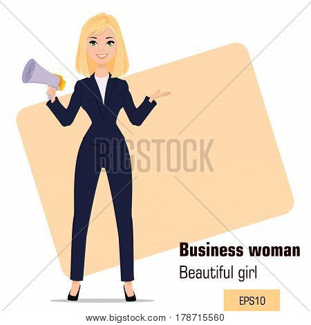 Young cartoon businesswoman standing. Beautiful blonde girl in office clothes holding mouthpiece. Fashionable modern lady. Vector illustration. EPS10