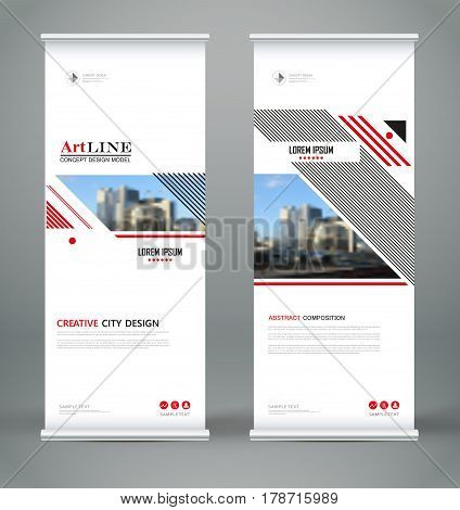 Abstract Composition. White Roll Up Brochure Cover Design. Info Banner Frame. Text Font. Title Sheet
