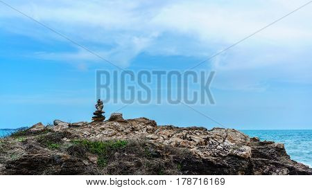 Stone cairn or stacked stones at Khao Laem Ya National Park Rayong Thailand