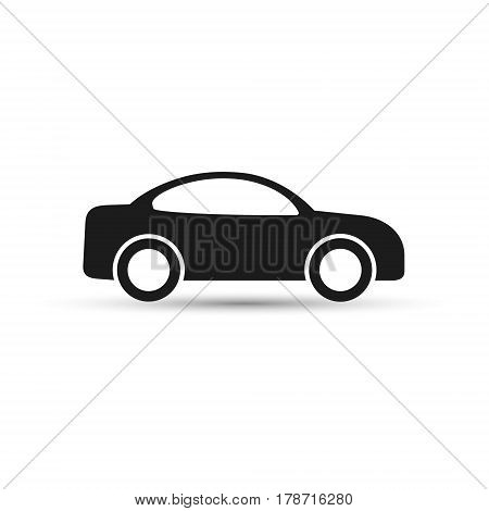 Car icon vector illustration. Side view of automobile or motor vehicle.