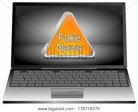 silver Laptop Computer with orange Fake News warning sign - 3D illustration