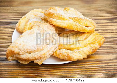 Crispy Puff Pastry With Puff Pastry With Jam On Plate