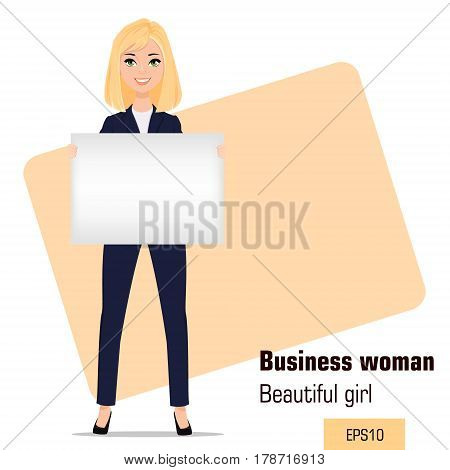 Young cartoon businesswoman standing. Beautiful blonde girl in office clothes holding blank banner. Fashionable modern lady. Vector illustration. EPS10
