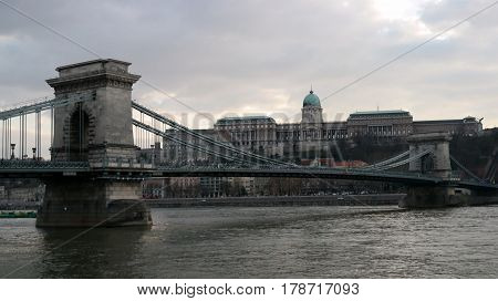 View of Chain Bridge with Buda Castle in the background