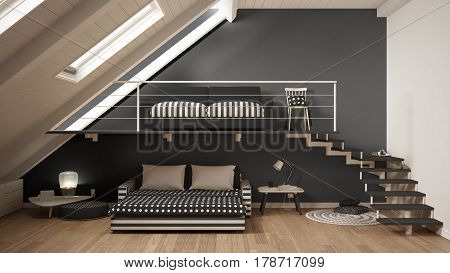 Loft Mezzanine One Room Minimalist Living And Bedroom, White And Gray Scandinavian Interior Design