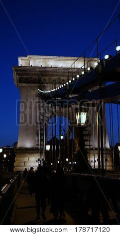 Detail of lighted Chain Bridge in Budapest