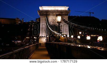 Night scene of historical Chain Bridge in Budapest city centre