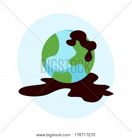 Ecological problems environmental oil pollution water earth air deforestation destruction of mills factories forest protection vector illustration. Toxic gasoline technology garbage concept.