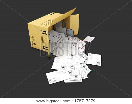 3d illustration of box with letters in, isolated on black background