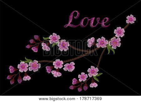 Embroidery Crewel Branch Of Cherry Sakura Tree March Festival Hanami Flowering Celebrations Blossoms
