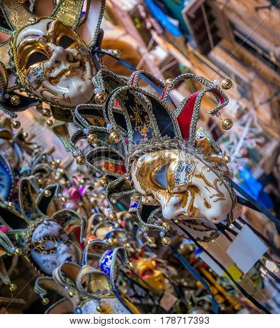 Colorful carnival masks from annual festival held in Venice Italy. The Carnival ends with the Christian celebration of Lent forty days before Easter on Shrove Tuesday (Martedì Grasso or Mardi Gras) the day before Ash Wednesday. The festival is world famou