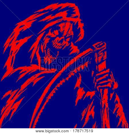 Red Death with a Scythe. Blue Background. Web Icon. Isolated Flat Vector Illustration. Spooky Apocalypse Demon. Spirit Rock Skull. Ghost Skeleton. Nightmare Terrible Mouth. Massacre Phantom monster.