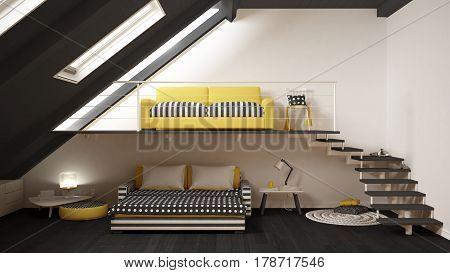 Loft Mezzanine One Room Minimalist Living And Bedroom, White And Yellow Scandinavian Interior Design