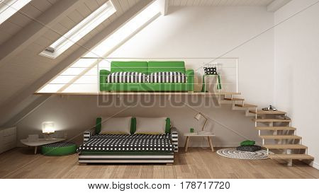 Loft Mezzanine One Room Minimalist Living And Bedroom, White And Green Scandinavian Interior Design