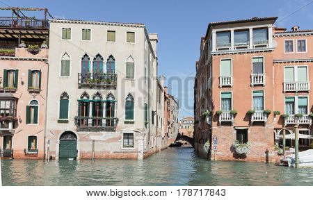 Small Channel Rio Di San Marcuola Grand Canal In Venice
