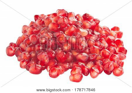 Ripe Red Pomegranate Isolated On White Background