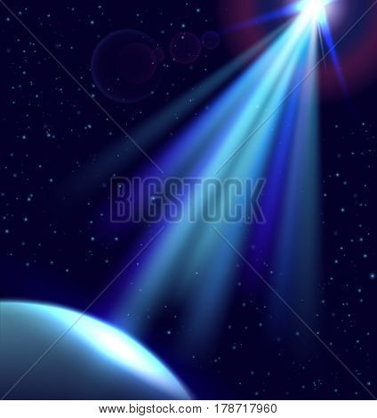 Direct light in dark space. Planet and ufo light. Vector cosmos illustration