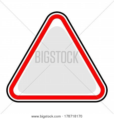 Use it in all your designs. Blank triangle hazard attention warning danger sign. Empty triangular sticker in red and black colors. Quick and easy recolorable vector illustration.