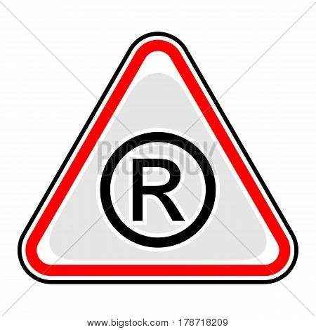 Use it in all your designs. Red and black triangular sticker with registered trademark sign. Triangle hazard warning danger symbol. Quick and easy recolorable vector illustration