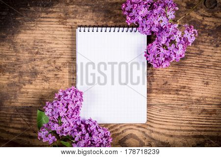 Bunches of lilac on brown wood old table with vertical blank notebook, empty space for text