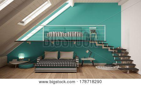 Loft Mezzanine One Room Minimalist Living And Bedroom, White And Turquoise Scandinavian Interior Des