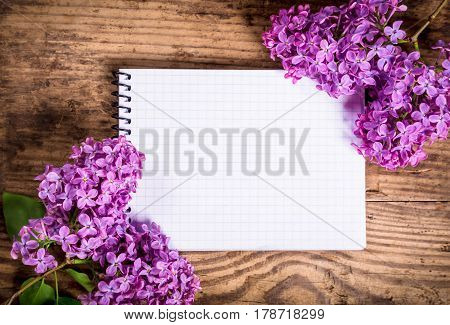 Bunches of lilac on brown wood old table with blank notebook, space for text