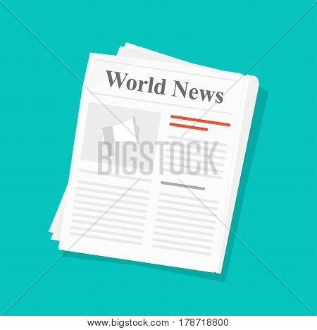 Newspaper vector illustration isolated, flat style folded newspaper icon